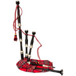 EBONY BAGPIPE WITH RED TARTAN COVER FULL SIZE
